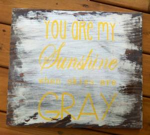 "This was one of my favorite songs sung to me growing up and holds a special place in my heart. Hand distressed wood sign that is stained and painted - this item can also be re-created (although never duplicated!) and can be customized with different colors and sizes (approx measurements 13.5"" x 12"" $40)"